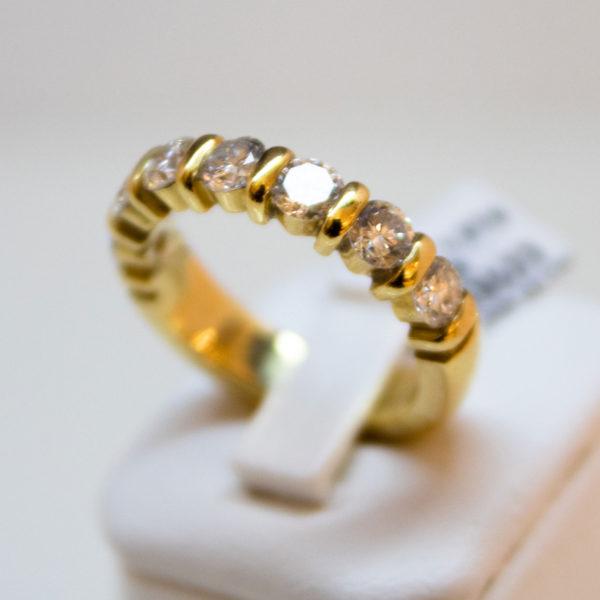 bague en or jaune 750/000 demi tour diamants taille brillant